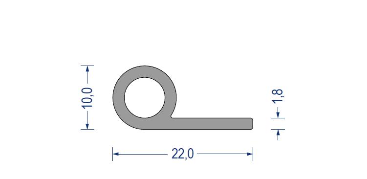 silikon fahnenprofil 60 sh a 10 22mm fahne 1 8mm grau. Black Bedroom Furniture Sets. Home Design Ideas
