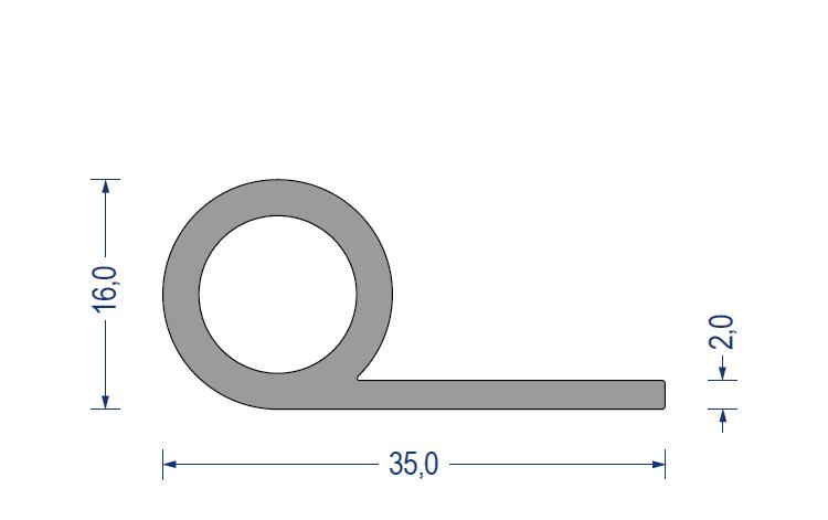 silikon fahnenprofil 60 sh a 16 35mm fahne 2mm grau. Black Bedroom Furniture Sets. Home Design Ideas