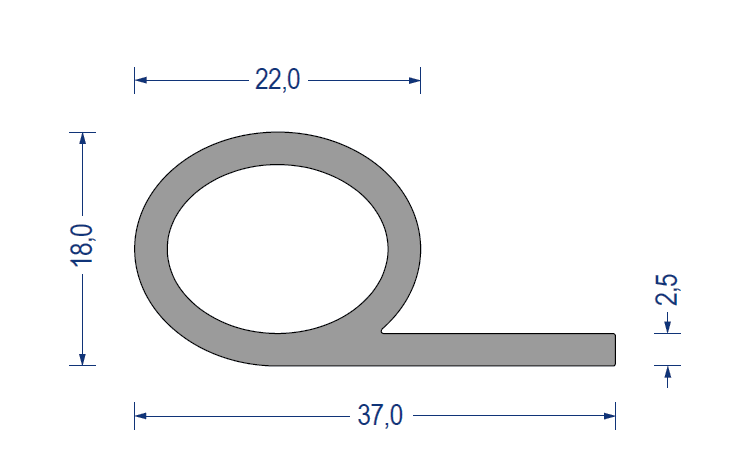 silikon notenprofil 60 sh a 18 37mm fahne 2 5mm grau. Black Bedroom Furniture Sets. Home Design Ideas