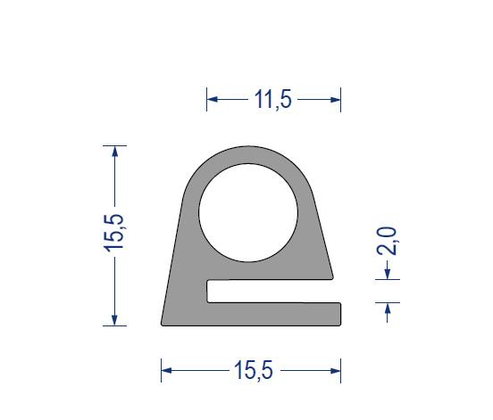 silikon hohlkammer klemmprofil 60 sh a 15 5x15 5 kb 2 grau. Black Bedroom Furniture Sets. Home Design Ideas