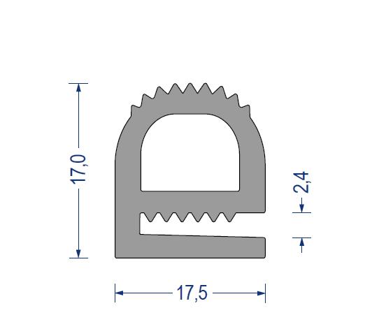silikon hohlkammer klemmprofil 60 sh a 17 5x17 kb 2 4 grau. Black Bedroom Furniture Sets. Home Design Ideas