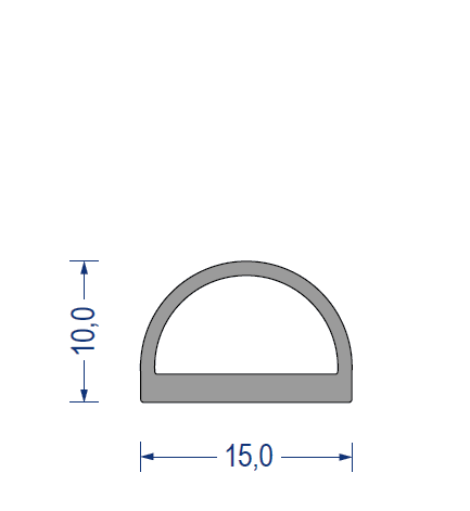 silikon hohlkammerprofil ca 60 shore a 15x10mm grau. Black Bedroom Furniture Sets. Home Design Ideas