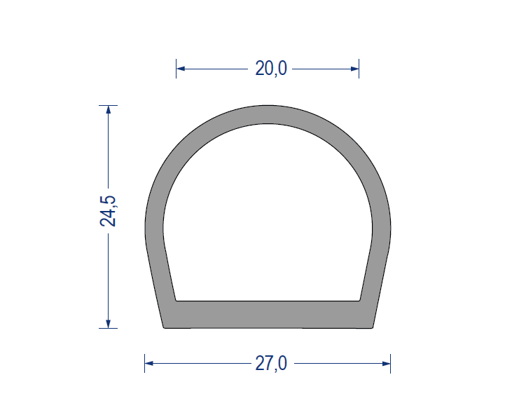 silikon hohlkammerprofil 60 sh a 27x24 5x20 mm grau. Black Bedroom Furniture Sets. Home Design Ideas