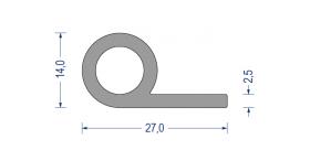 silikon notenprofil 60 sh a 14 27mm fahne 2 5mm grau. Black Bedroom Furniture Sets. Home Design Ideas